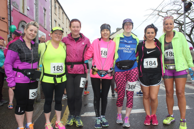 Kerry O'Mahony, Joan O'Keeffe, Donna O'Mahony, Kerry O'Connor, Catherine Costello, Sabrina Caffrey and Cindy O'Shea at the start of the Half Marathon on Saturday morning. Photo by Dermot Crean