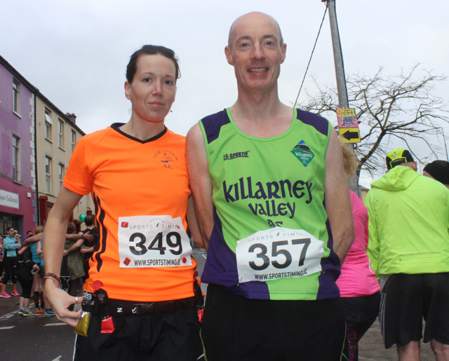 Alison Kirwan and Philip Gammell at the start of the Half Marathon on Saturday morning. Photo by Dermot Crean