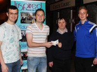 At the cheque handover from the Castle Bar to Inspired were, from left: Jack Towey, Fergal O'Sullivan, Phillip Fitzmaurice and Darren O'Sullivan. Photo by Gavin O'Connor.