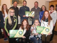 At the launch of the Kerry Camogie Golden Ticket scheme for businesses, at Kerins O'Rahillys clubhouse were front, from left; Michelle Costello, Triona Brassil, Joanne Diggin and Patrice Diggin. Back from left; Laura Collins, John Leen, David Doyle, John Horgan, Carmel O'Shea Moloney and Teresa O'Connor. Photo by Dermot Crean