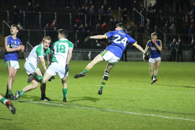 Jordan Kiely lets a shot fly over the bar in the closing stages. Photo by Dermot Crean