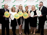 Pictured at the annual SPAR 5 Star Awards in Killashee House Hotel, Kildare were from left John Hickey, Debbie O'Halloran, Deirdre Fitzgibbon, Colette O'Sullivan, Julianne Fitzgerald and Louis Byrne from SPAR Oak Park, SPAR Caherslee and SPAR Monavalley, Tralee  Iain White/Fennell Photography Fennell Photography 2016