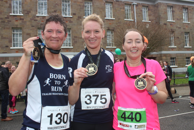 Susan O'Sullivan, Aoife O'Connor and Cathy Jordan at the marathon finishing line on Saturday afternoon. Photo by Dermot Crean