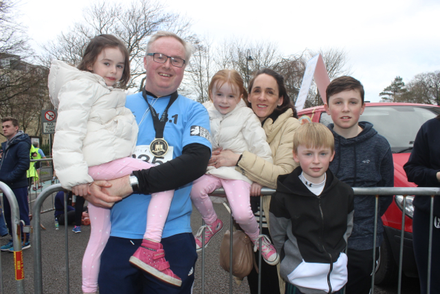 Rachel, Paul, Grace, Darragh, Donagh and Mark Stephenson at the marathon finishing line on Saturday afternoon. Photo by Dermot Crean