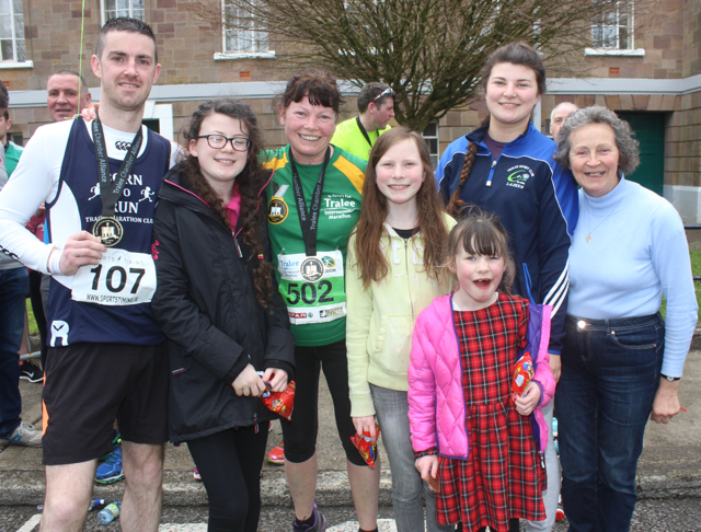 Colin 'Poshey' Aherne, Aine, Loretta, Aoife, Brid and Katie O'Sullivan and Carmel Quilter at the marathon finishing line on Saturday afternoon. Photo by Dermot Crean
