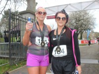 Cindy O'Shea and Sabrina Caffrey at the marathon finishing line on Saturday afternoon. Photo by Dermot Crean