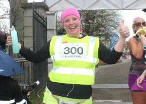 Claire Leane at the marathon finishing line on Saturday afternoon. Photo by Dermot Crean