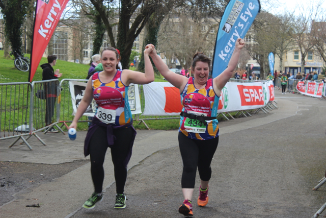 Melissa Hassett and Mairead Spillane at the marathon finishing line on Saturday afternoon. Photo by Dermot Crean