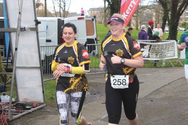 Happy runners at the marathon finishing line on Saturday afternoon. Photo by Dermot Crean