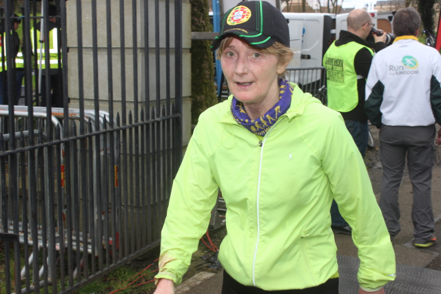 Lesley Galvin at the marathon finishing line on Saturday afternoon. Photo by Dermot Crean