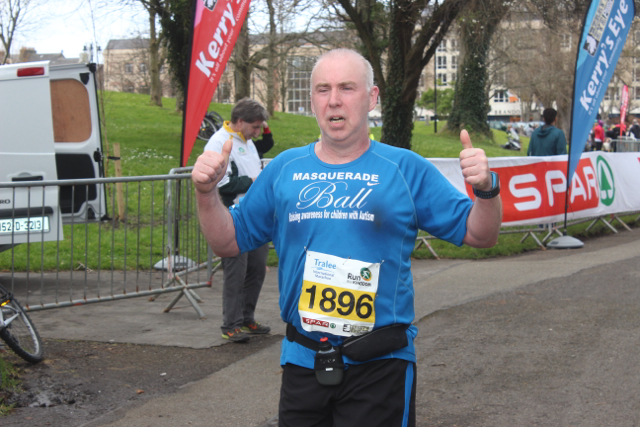 Thumbs up from this runner at the marathon finishing line on Saturday afternoon. Photo by Dermot Crean