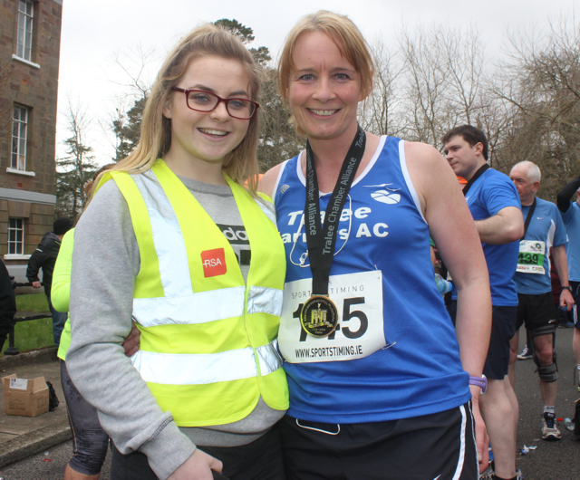 Lauren Barrett and Michelle Greaney at the marathon finishing line on Saturday afternoon. Photo by Dermot Crean