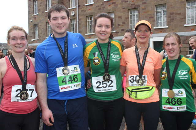 Joan Wallace, Alan Hickey, Aileen O'Keeffe, Mary Falvey and Bridget O'Sullivan at the marathon finishing line on Saturday afternoon. Photo by Dermot Crean