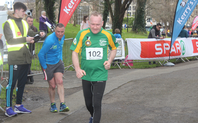 Dermot Landy at the marathon finishing line on Saturday afternoon. Photo by Dermot Crean