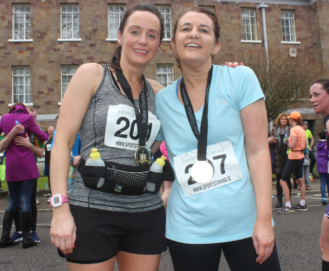 Martina Fernane and Mairead Brennan at the marathon finishing line on Saturday afternoon. Photo by Dermot Crean
