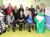 Staff, parents and children at the launch of the new Early Years Support Centre in Oakview Village Childcare. Photo by Gavin O'Connor.