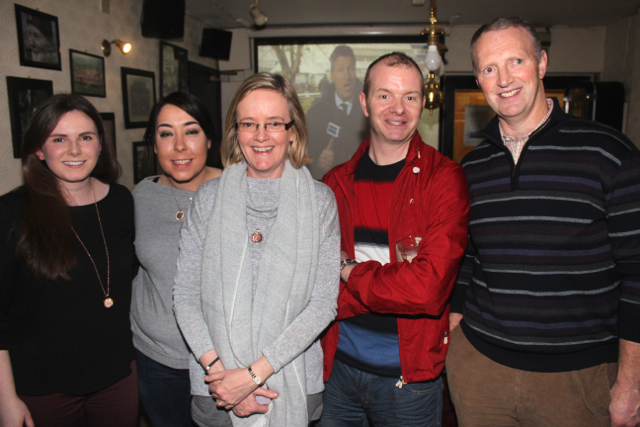 Clodagh Quane, Laura Couchman, Geraldine Cooper, Damien Fitzgerald and Seamus O'Sullivan at the Cheltenham Preview Night in aid of St Brendan's NS Blennerville at Skelper Quane's on Thursday night. Photo by Dermot Crean