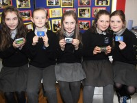 At the Junior Entrepreneur Programme presentation in Scoil Nuachabháil were, from left: Charlotte Geary, Aby Leahy, Ella Quirke, Orla O'Connor and Rachel Griffin. Photo by Gavin O'Connor.