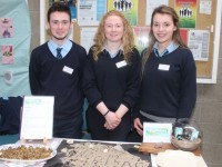 St Joseph's Ballybunion students Conor McGrath, Niamh Stack and Alanna Whelan with 'Ripbar' at the County Final of the Kerry County Council Annual Student Enterprise Awards at IT Tralee on Friday. Photo by Dermot Crean