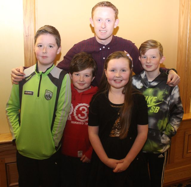 Colm Cooper with Tiernan O'Carroll, Oran Tobin, Naoise O'Carroll and Oisin Tobin at CBS The Green's 'The Kube' event in the Brandon Conference Centre on Wednesday night. Photo by Dermot Crean