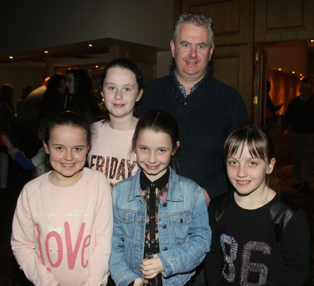 Mike Parker with Niamh Healy, Hazel Parker, Caoimhe McElligott and Colleen Sayers at CBS The Green 'The Kube' event in the Brandon Conference Centre on Wednesday night. Photo by Dermot Crean