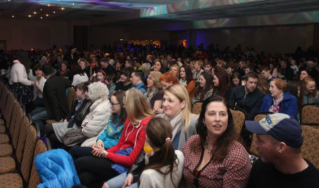 Part of the huge crowd at CBS The Green's 'The Kube' event in the Brandon Conference Centre on Wednesday night. Photo by Dermot Crean