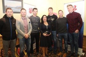 John 'Tweek' Griffin, Damien Ryall, Aidan O'Mahony, Teresa Walker, Donnchadh Walsh, Darran O'Sullivan and Tommy Walsh at CBS The Green's 'The Kube' event in the Brandon Conference Centre on Wednesday night. Photo by Dermot Crean