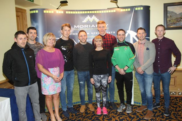 John 'Tweek' Griffin, Aidan O'Mahony, Principal of CBS The Green Anne O'Callaghan, Donnchadh Walsh, Darran O'Sullivan, Elaine Kinsella of Radio Kerry, Tommy Walsh, Andrew Morrissey, Damien Ryall and Colm Cooper at CBS The Green's 'The Kube' event in the Brandon Conference Centre on Wednesday night. Photo by Dermot Crean