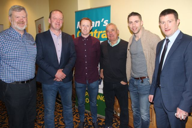 Eoin Liston, Mick Galwey, Colm Cooper, Ogie Moran, Marc O Se and Vice-Principal of CBS The Green Robert Flaherty at CBS The Green's 'The Kube' event in the Brandon Conference Centre on Wednesday night. Photo by Dermot Crean