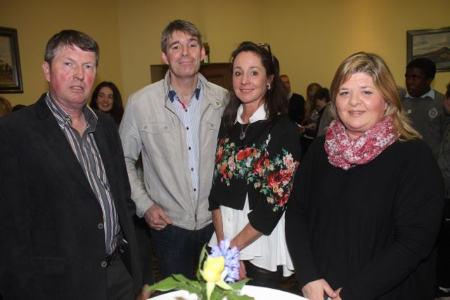 Niall Nolan, Martin Hartnett, Joan Connolly and Joan Dillane at CBS The Green's 'The Kube' event in the Brandon Conference Centre on Wednesday night. Photo by Dermot Crean