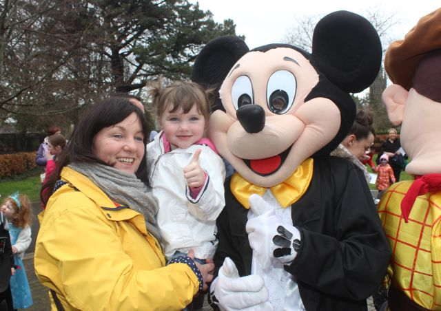 Joanne Ellard and Eliza Lynch with Mickey at the Tir Na nOg Fun Run in the Town Park on Saturday afternoon. Photo by Dermot Crean