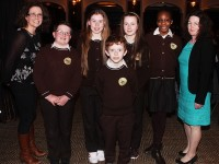 Gaelscoil Mhic Easmainn at the choir performance for Seachtain Na Gaeilge, they were, from left: Olive Ni Ghearin, Lucas MacGearilt, Sorcha Ni Luansigh, Marc O'Coinne, Ella Nic Gabhann, Jane Akinrinlade, Treasa Ui Righaill. Photo by Gavin O'Connor.