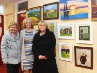 June Hewitt, Breda Murphy and Marian O'Connor at the art exhibition in Coláiste Gleann Lí. Photo by Gavin O'Connor.