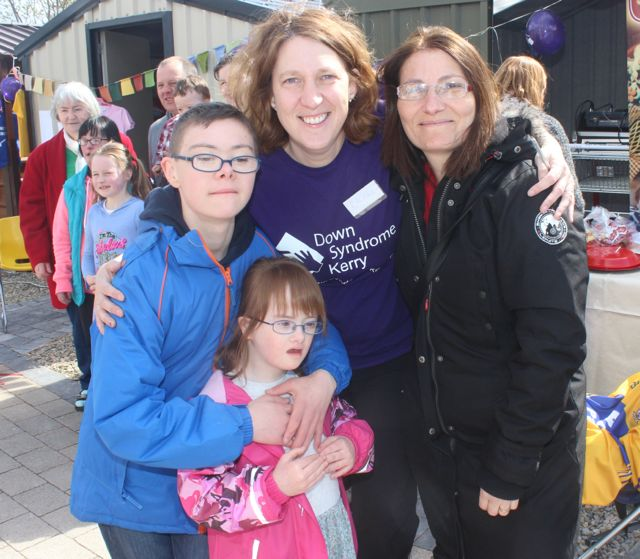 Yann O'Carroll, Emer Moloney, Rachel Fitzgerald and Dominique O'Carroll at the Family Fun at Ballyseedy Garden Centre in aid of Down Syndrome Kerry on Saturday. Photo by Dermot Crean