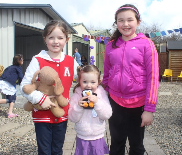 Sophie, Zoe and Aisling O'Mahony at the Family Fun at Ballyseedy Garden Centre in aid of Down Syndrome Kerry on Saturday. Photo by Dermot Crean