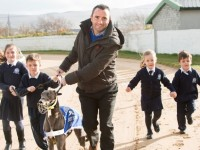 Out on the Gallop! The Kingdom Greyhound track in Tralee is the place to be on Saturday 23rd April at 7:45p.m. where Blennerville N.S. host's a 'Night at the Dogs' to raise much needed funds to provide sports equipment and library facilities for the school. Pictured from left are Gráinne O' Donnell, Conor Cronin, School Principal, Terry O' Sullivan with Dubai Diva, Emily Corridon and Darragh Cronin. Pic: Pauline Dennigan For further info: Nora Corridan 087 785 7018