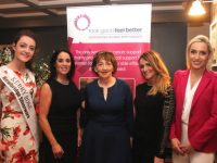 Kerry Rose Julett Culloty, Clair McEvoy, Mary Fitzgerald, Tara O'Halloran Cronin and Leonie Flaherty at the launch of the 'Look Good Feel Better' Programme. Photo by Dermot Crean