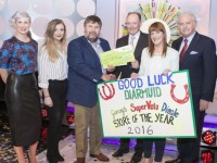 Diarmuid Belgey from Dingle Co. Kerry has won €33,000 on last Saturdays (16th April 2016) National Lottery Winning Streak game show on RTE.  Pictured here at the presentation of the winning cheques were from left to right: Sinead Kennedy, Winning Streak game show co-host; Emer O'Neill, the National Lottery ticket selling agent, Supervalu, Holyground, Dingle, Tralee, Co. Kerry; Diarmuid Belgey, the winning player; Declan Harrington, Head of Finance at the National Lottery who made the presentation; Melissa NÍ Chiobháin, the National Lottery ticket selling agent, Supervalu, Holyground, Dingle, Tralee, Co. Kerry and Marty Whelan, Winning Streak game show co-host. Pic: Mac Innes Photography