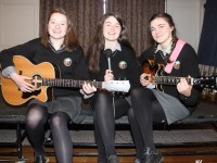 From Gaelcholaiste Chiarrai, Ursellla Mhochóir, Janine Ní Chonchúir and Loraine De Nais at the Kerry ETB 1916 commemoration event in The Rose Hotel. Photo by Gavin O'Connor.