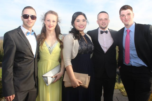 Daniel Sterc, Sarah Brosnan, Joanna Ycasas, Paraic Bermingham and Keith Hannon at the IT Tralee College Ball at the Ballyroe Heights Hotel on Wednesday night. Photo by Dermot Crean