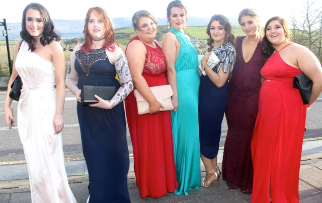Melanie Walsh, Stephanie Walsh, Nikita Derwin, Sarah Bartusik, Erika Healy, Becky Hussey and Sarah Bradley at the IT Tralee College Ball at the Ballyroe Heights Hotel on Wednesday night. Photo by Dermot Crean