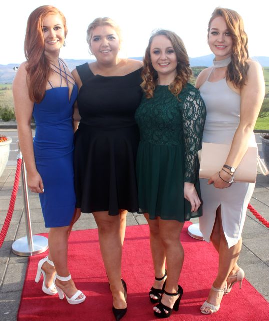 Ciara Mulcare, Muireann Claffey, Aoife O'Connor and Lisa Murphy at the IT Tralee College Ball at the Ballyroe Heights Hotel on Wednesday night. Photo by Dermot Crean