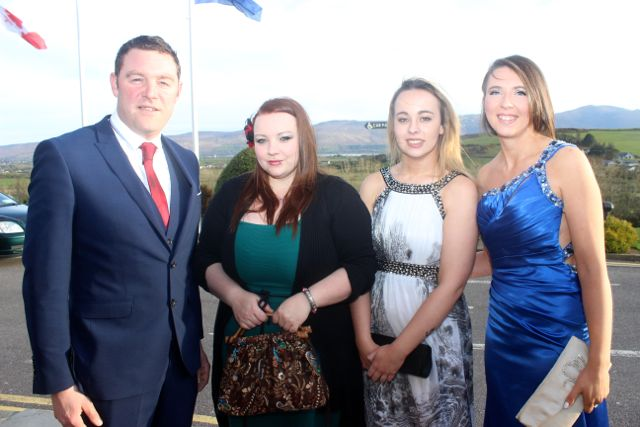 Brendan O'Connor, Fiona McKenna, Ciara O'Connell and Niamh Blackburn at the IT Tralee College Ball at the Ballyroe Heights Hotel on Wednesday night. Photo by Dermot Crean