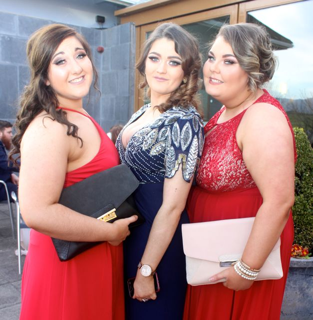 Sarah Bradley, Erika Healy and Nikita Derwin at the IT Tralee College Ball at the Ballyroe Heights Hotel on Wednesday night. Photo by Dermot Crean