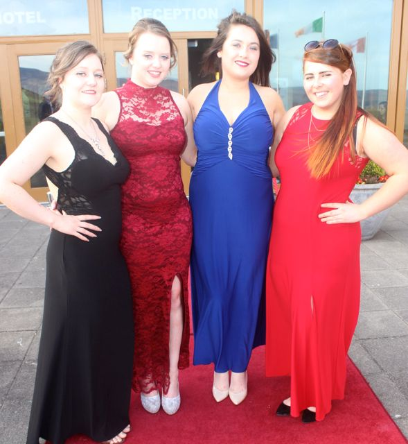 Samantha Kehoe, Niamh Crowe, Chloe O'Sullivan and Hanna Ryan at the IT Tralee College Ball at the Ballyroe Heights Hotel on Wednesday night. Photo by Dermot Crean