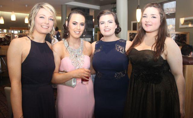 Deirdre Cashen, Tara Murphy, Chloe Morley and Emily Drew at the ITT Sports Clubs And Socities Ball at the Ballyroe Heights Hotel on Thursday night. Photo by Dermot Crean