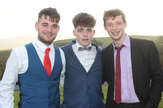 Darragh Conway, Dean Carty and Cathal Fennessy at the ITT Sports Clubs And Socities Ball at the Ballyroe Heights Hotel on Thursday night. Photo by Dermot Crean