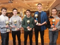 Christopher O'Halloran, Philip Corkery, Raul Venczel, Tristan Raymond and David Kapkowski at the Tralee Imperials Basketball Club Juvenile Awards night at the Rose Hotel on Friday. Photo by Dermot Crean
