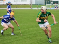 Shane Nolan has his eyes on the post against Laois earlier this year. Photo by Gavin O'Connor.
