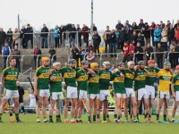 Kerry stand for the national anthem. Photo by Gavin O'Connor.